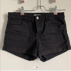 Classic black jean shorts, no rips
